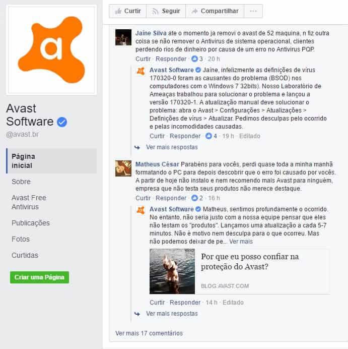 Usuários reclamando do Avast na página da empresa no Facebook