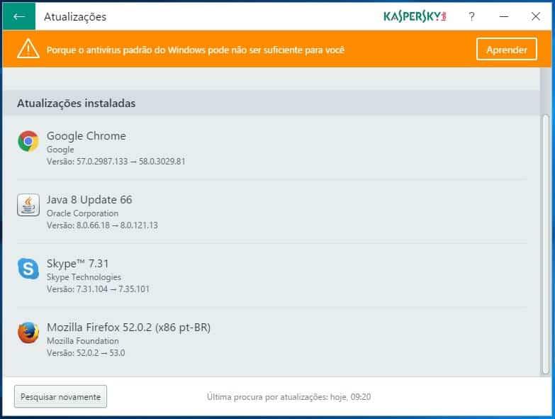 Programas atualizados com o Kaspersky Software Updater