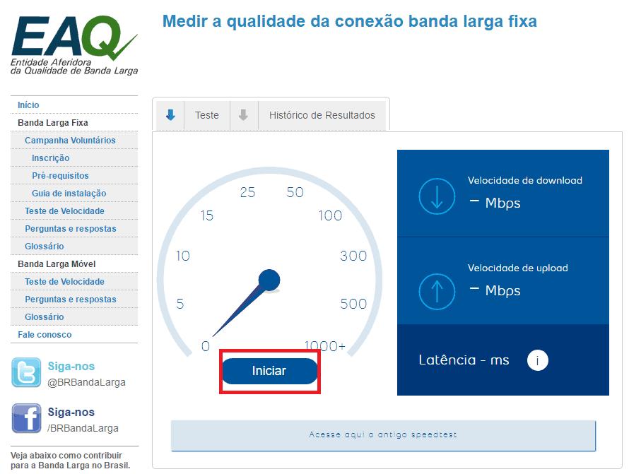 Teste de velocidade do Brasil Banda Larga