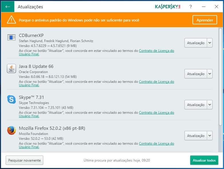 Tela de verificação de atualizações do Kaspersky Software Updater